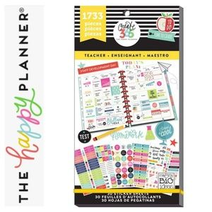 1733 Teacher BIG Happy Planner Stickers Student J